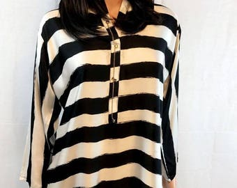 Two piece silk shirt/kurta with black tulip pants