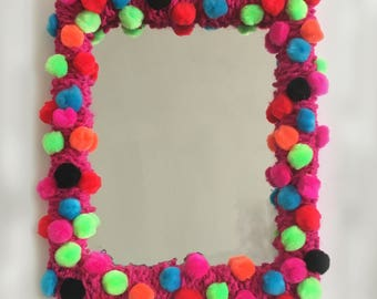 Hot Pink Pom Pom Mirror Dorm Room Decor for Teenagers and Beyond