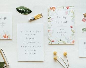 Pastel Watercolor Modern Calligraphy Wedding Invitation Suite