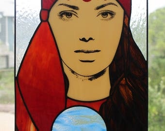 Stained Glass Window Panel (Silkscreen)- Gypsy Fortune Teller with Crystal Ball