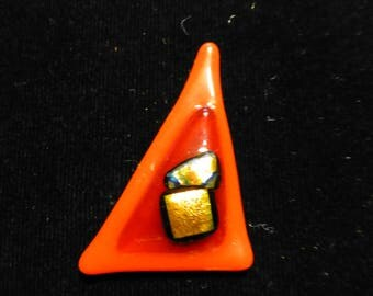 Triangular fused glass brooch in Red and Orange