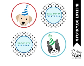 Dog Cupcake Topper / Puppy Cupcake Topper / Doggie Cupcake Topper / Puppy Dog Cupcake Topper / Doggy Canine Round Label  DG01