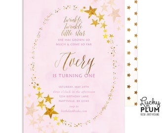 Twinkle Twinkle Little Star Birthday Invitation / Slumber Party Birthday Invitation / First Birthday Invitation / Pink Gold Invitation Star