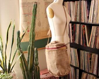 vintage patchwork suede duffel bag with long crossbody strap . tan hippie bag, unisex