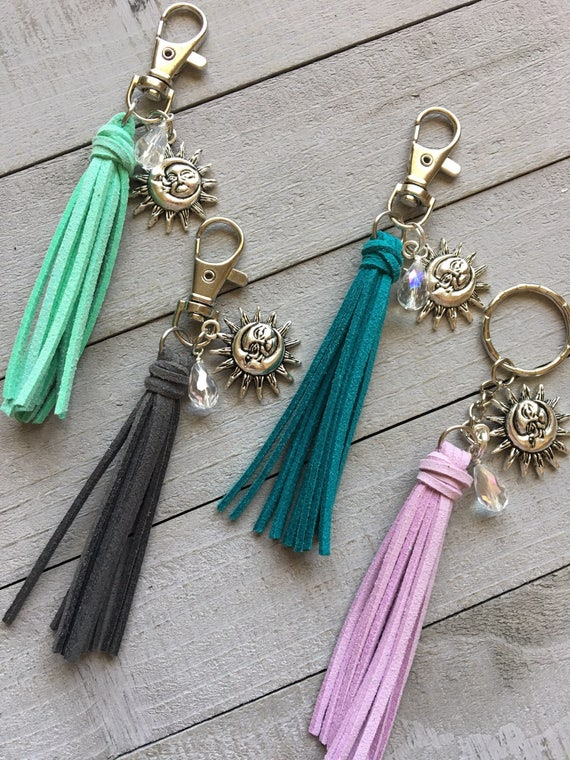 "Sun & Moon Charm Keychain or Handbag Charm - 3.5"" Mini Tassel Choose Your Color (ST104)"