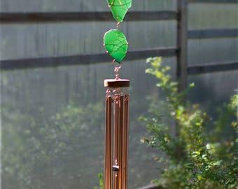 Wind Chimes Outdoor Copper green sea glass beach glass stained glass suncatcher windchime