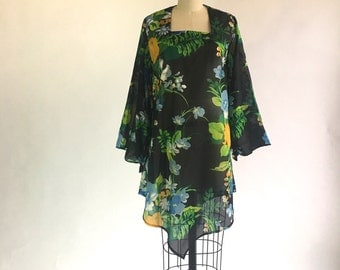 1970s Sheer Black Floral Beach Cover Up