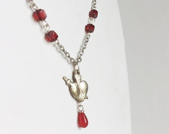 Bleeding Heart and Dagger Necklace, Silver Milagro Charm Pendant, Dangling Red Drop Glass Beads, Simple Silver Chain, Handmade One of a Kind