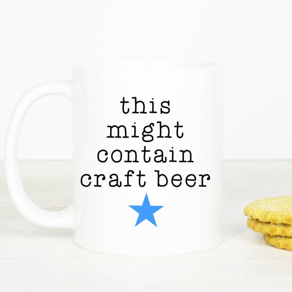This might be beer mug -Personalised back,  funny coffee mug, would make a lovely gift