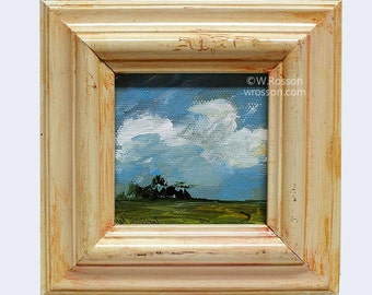 Rescued  Frame, Landscape Painting, Miniature Painting, Original Art, Home Decor, Office Art, Wall Art, Gift, Winjimir, Trees, Sky, Art