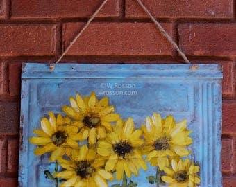 Sunflowers, Painting, Metal Shingle, Vintage, Metal, Roofing Shingle, Original Painting, Home Decor, Patio, Garden, Porch, Winjimir, Art