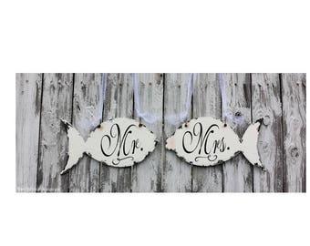Mr and Mrs Signs | Wedding Chair Signs | Wedding Signs | Fishing Wedding Decor | Nautical Wedding Ideas | Beach Wedding Ideas | Rustic Fish