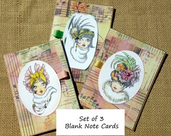 Ladies in Fancy Hats Blank Note Cards Greeting Card Kraft Paper Cards and Envelopes set of three hand colored and handcrafted Vintage Ladies