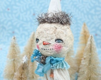 JOHN THE SNOWMAN - An adorable Christmas art doll that once was a plastic doll, dressed with handmade clothes created by Danita Art.