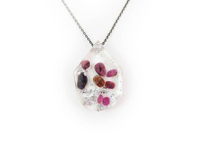 Ruby Eco-Resin Tumbled Stone Necklace