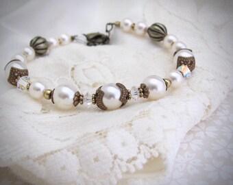 White Pearl Bracelet Beaded Swarovski Crystal Pearls, Antiqued Brass Vintage Design, Wedding Bridal Mother of the Bride, Gift for Her