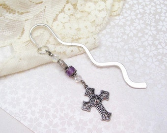 Amethyst Bookmark, Cross Amethyst Gemstone, Swarovski Crystal, Christian Heart Gift, Christian Gift, Steampunk Bookmark, Gift for Reader