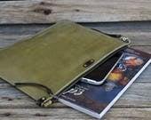 Olive Green Leather Portfolio / Unisex / Mens Zipper Bag  / Large Zipper Clutch / Hand Stitched Bag / Feral Empire /feralempire.etsy.com