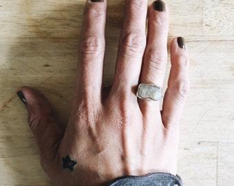 winter beauty - lightest gray quartz crystal ring