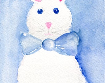 White Bunny Rabbit Watercolor Painting Original 5 x 7 Original Animal Art, SharonFosterArt