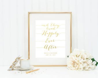 And They Lived Happily Ever After Sign / Gold Foil Wedding Sign / Foil Wedding Print / Fairy Tale Wedding / 8x10 or 5x7 / Actual Foil
