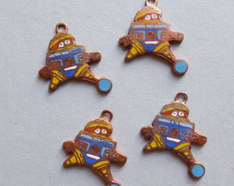 Vintage copper enamel robot charms