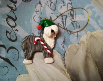OES, Old English Sheepdog ornament, Christmas, clay, handmade, first place, blue ribbon, santa hat