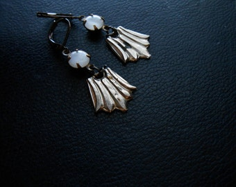 SALE - wings of desire - white moonglow and silver vintage repurposed earrings - occult inspired jewelry