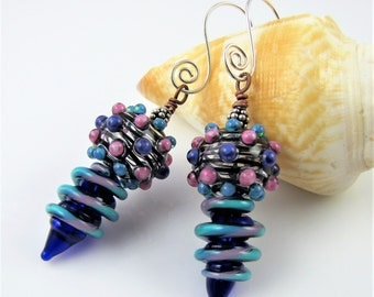 Dotted Hollow Glass Earrings
