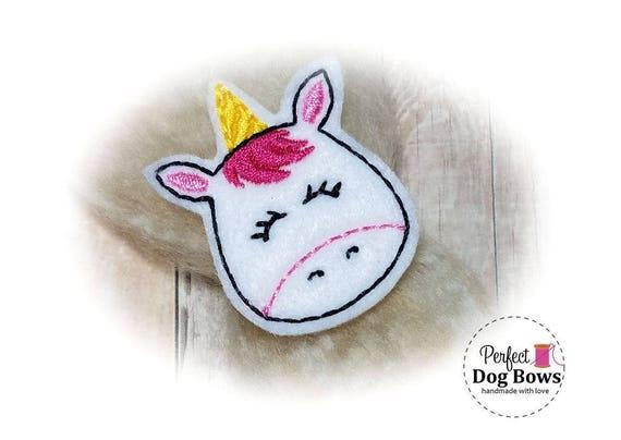 Unicorn Dog Bow, Felt Dog Bow, Embroidered Dog Bow, Magical Unicorn