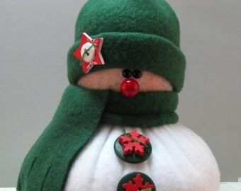 Handmade Stuffed Snowman Decoration, Christmas Holiday Decor, Snowman Christmas Ornament, Winter Decor, Little Bit in Dark Green Fleece