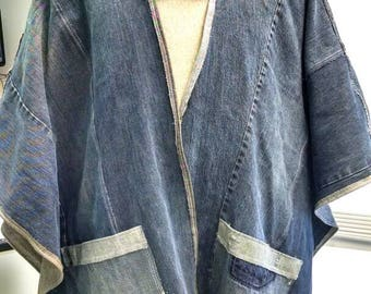 CUSTOM Unisex Denim Poncho Ecofriendly Upcycled Jeans Reconstructed One size fits most