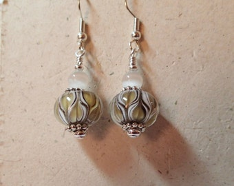 Dusky Topaz Black and White Entwined Hearts  Lampwork Glass Earrings on silver