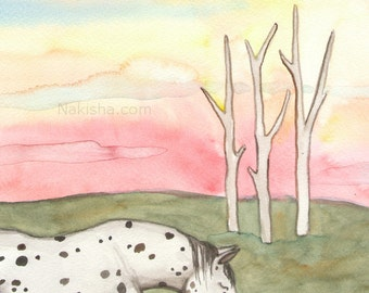 Original Art - The Four of Swords - Watercolor Horse Painting - Art from The Riderless Tarot