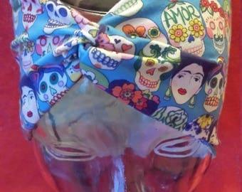 Frida Kahlo and Sugar Skull Print Cotton/Lycra Stretch Knit Scrunchy Wide Headband