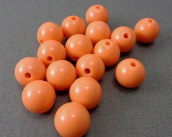 Tangerine Orange Vintage Lucite 10mm Beads - Lot of 15