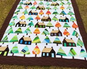 "Little Cabins in the Big Woods Full Size Quilt 76.5""x98"" multi color trees"