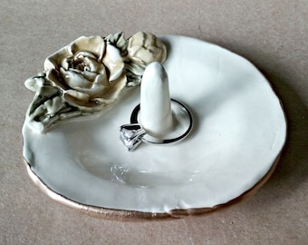 Ceramic Ring Holder Bowl with Gold edging Yellow Rose OFF WHITE Organic Shape