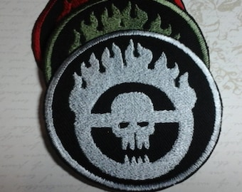 Mad Max Immorten Joe Flaming Skull Steering Wheel WAR BOY Embroidery Patch By Darkwear Clothing