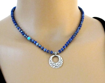 Sodalite Turquoise Necklace Sterling Silver Hammered Circle of Life DJStrang Boho Chic Southwestern Blue Green Gemstone