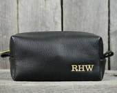 Black Leather Toiletry Case With Free Monogram and Optional Interior Message Gift for Man Groomsmen Groom Wedding Graduation Grad