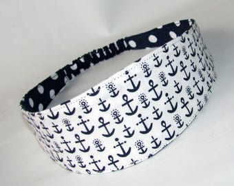 Anchor in White Fabric Headband, women headband, women hairband, Reversible Fabric Hairband, Fashion Accessories, Nautical Headband