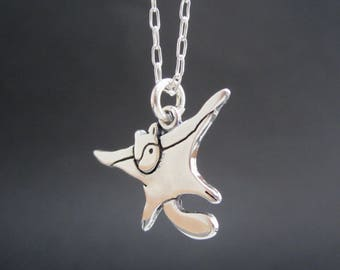 Sterling Flying Squirrel Necklace - Silver Flying Squirrel Pendant
