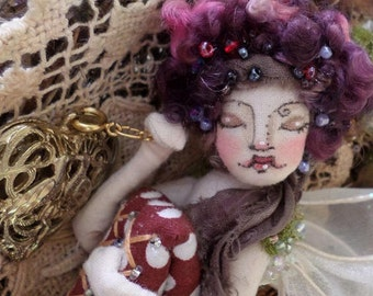 OOAK Fairy Art Doll - Lady Cymbelline Juliette Figg - Flower Fairy Cloth Art Doll - Paula McGee Paula's Doll House
