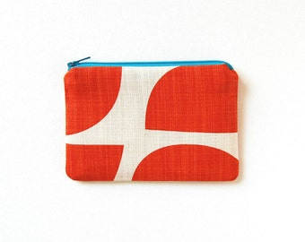 Simple Zipper Pouch, Coin Purse, Change Pouch, Women and Teens, Mini Wallet, Skinny LaMinx Bowls in Persimmon