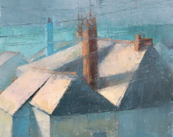 Roofs in the Sun, cityscape, oil painting