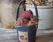 Primitive Spring Strawberry Bucket, Spring Home Decor, Strawberries, Handmade, Vintage Style