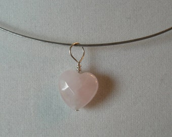 Rose Quartz Heart Pendant on sterling silver