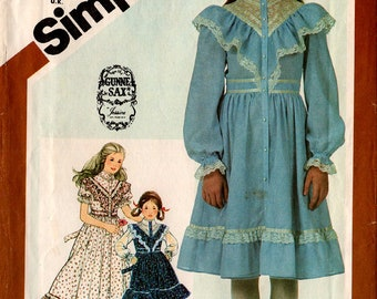 Gunne Sax GIRLS' DRESS PATTERN Simplicity #5437 Size 7 Jessica McClintock Ruffles Sunday Dress Designer Vintage Sewing