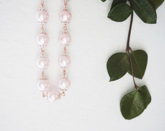 Wedding Necklace Pink Necklace Pearl Necklace Bridesmaid Necklace Bridesmaid Jewelry Set Bridesmaid Gift Wedding Jewelry Set Gift For Her